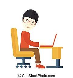 Un japonés sentado frente a su ordenador.