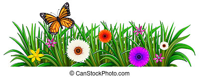 Un jardín con flores y una mariposa
