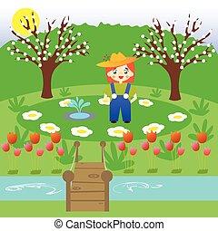 Un jardinero en un jardín de flores
