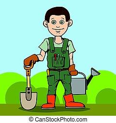 Un jardinero feliz con su herramienta de jardín. La pala y la regadera.
