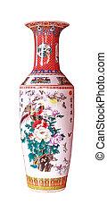 Un jarrón antiguo chino aislado en el fondo blanco