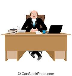 Un jefe alegre en el trabajo. Un hombre de negocios feliz en el escritorio. Ilustración de vectores