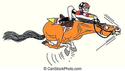 Un jinete de dibujos animados a caballo
