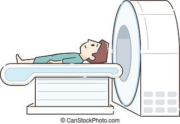 Un joven acostado en la máquina de resonancia.