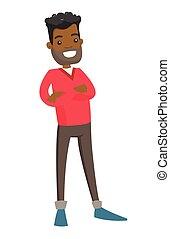 Un joven africano con brazos cruzados.