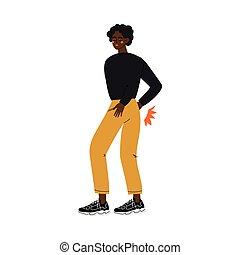 Un joven afroamericano que sufre de dolor de espalda causado por enfermedad o ilustración de vector de lesiones