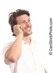 Un joven atractivo de negocios con teléfono