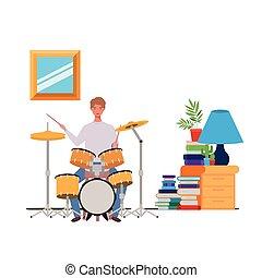 Un joven con batería en la sala