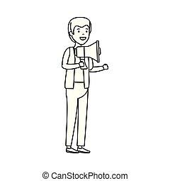 Un joven con megáfono