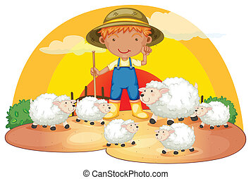 Un joven con sus ovejas