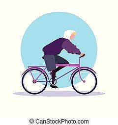 Un joven con un avatar en bicicleta