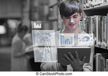 Un joven estudiando