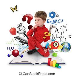 Un joven estudiante de ciencias que piensa en libros