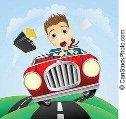 Un joven hombre de negocios que conduce rápido auto clásico