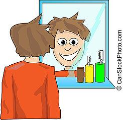 Un joven mirándose en el espejo