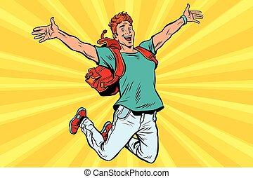 Un joven saltando de alegría