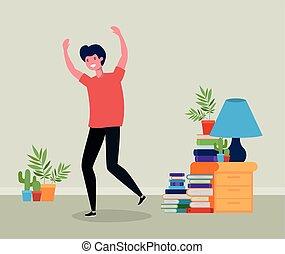 Un joven saltando en la sala