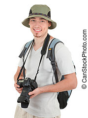 Un joven turista con cámara