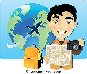 Un joven viajando por el mundo