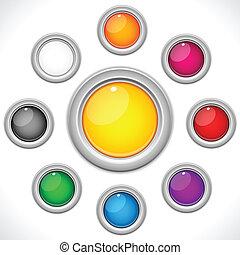 Un juego de 9 botones coloridos
