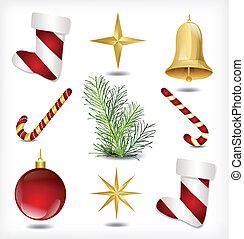 Un juego de artículos de Navidad. Vector