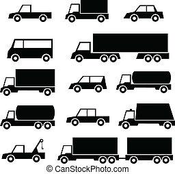 Un juego de autos y iconos de camiones