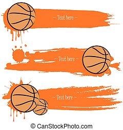 Un juego de banderas grunge dibujadas a mano con baloncesto