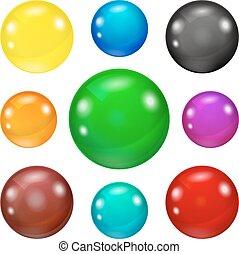 Un juego de bolas brillantes y brillantes de colores