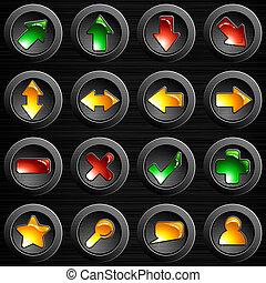 Un juego de botones de acero cepillados negros
