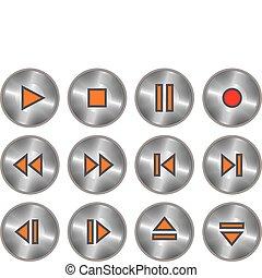 Un juego de botones metálicos
