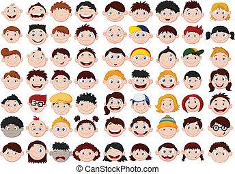 Un juego de cabezas de niños de dibujos animados