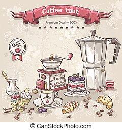 Un juego de café con los turcos, una taza, una cafetera y una variedad de dulces