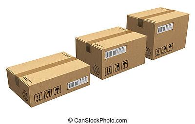 Un juego de cajas de cartón