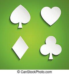 Un juego de cartas en el fondo verde, una simple ilustración vectorial