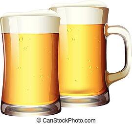 Un juego de cervezas en taza