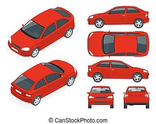 Un juego de coches de sedán. Auto aislado, plantilla para marcas de coches y publicidad.