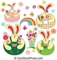 Un juego de conejo colorido y floral primaveral