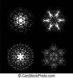 Un juego de copos de nieve