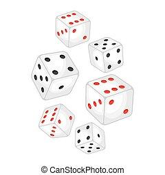 Un juego de dados blancos del casino cayendo