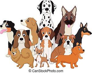 Un juego de dibujos de perros graciosos