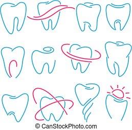 Un juego de dientes, iconos de dientes en fondo blanco. Puede usarse como logo para la clínica dental, dentista o estomatología