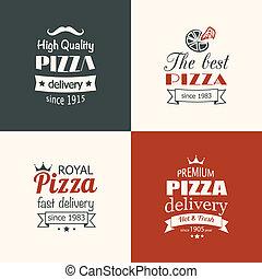 Un juego de etiquetas de pizza de calidad premium