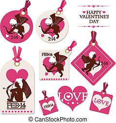 Un juego de etiquetas del día de San Valentín