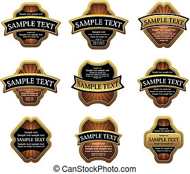 Un juego de etiquetas doradas