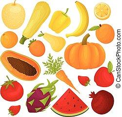 Un juego de frutas y verduras. Ilustración de vectores sobre fondo blanco.