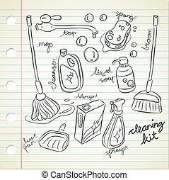 Un juego de garabatos de limpieza