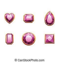 Un juego de gemas de color rosa.