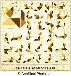 Un juego de grunge tangramos