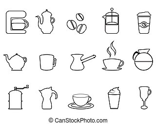 Un juego de icono lineal de café