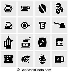 Un juego de iconos de café negro Vector